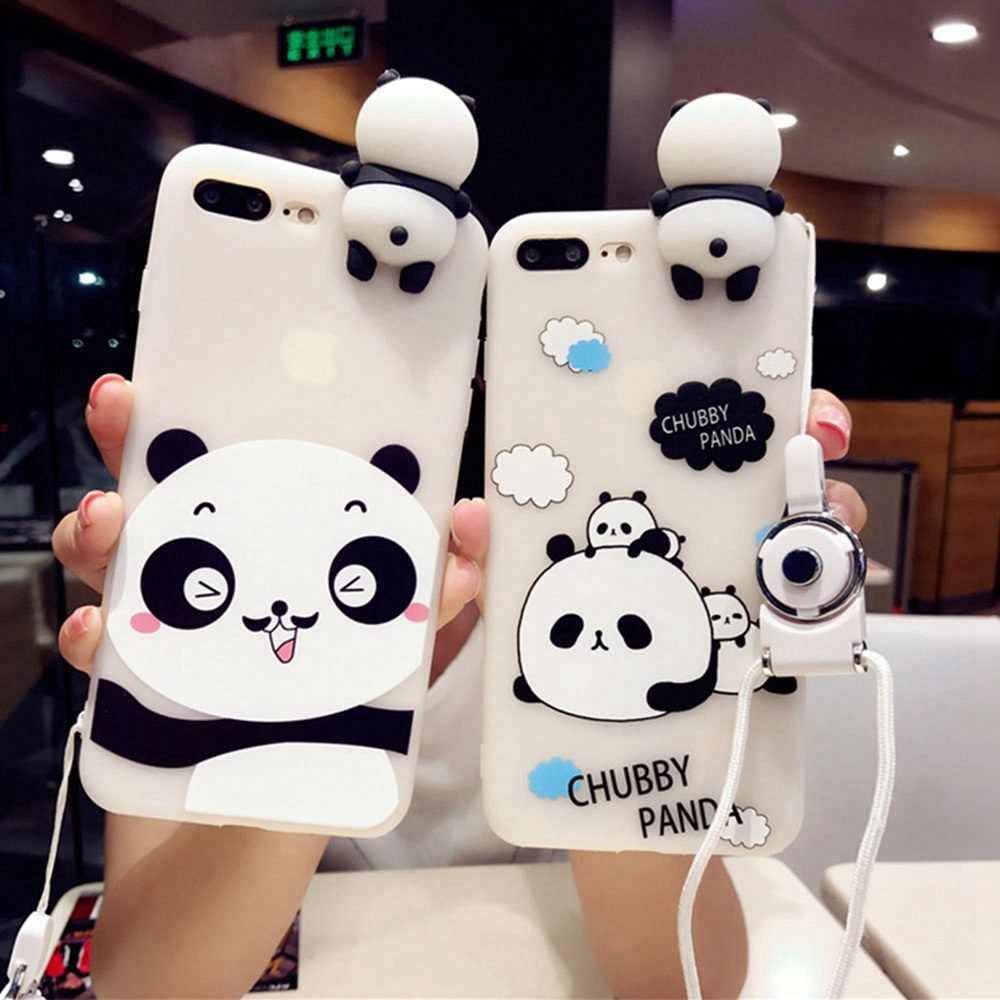 KISSCASE 3D Panda kreskówka wzorzyste etui na telefon dla iPhone 6 7 8 6 s 7 8 Plus śliczne etui na iPhone'a X 6 7 10 miękkie pokrywa silikonowa