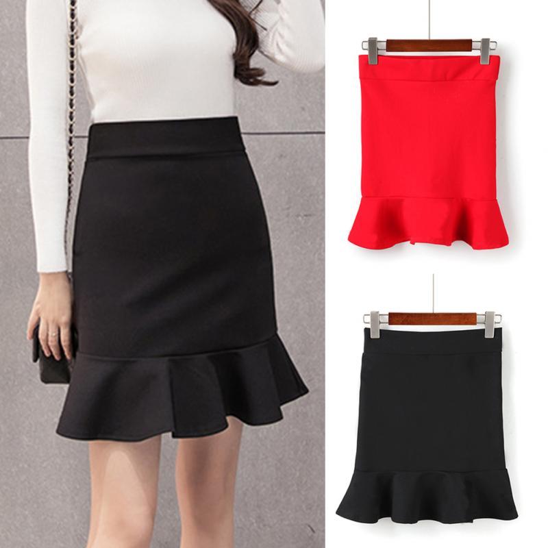 2019 New Fashion Solid Color Women Skirt Sexy Mini Package Hip Ruffle Fishtail Skirt Ladies Summer Elegant Slim Short Skirt#1126