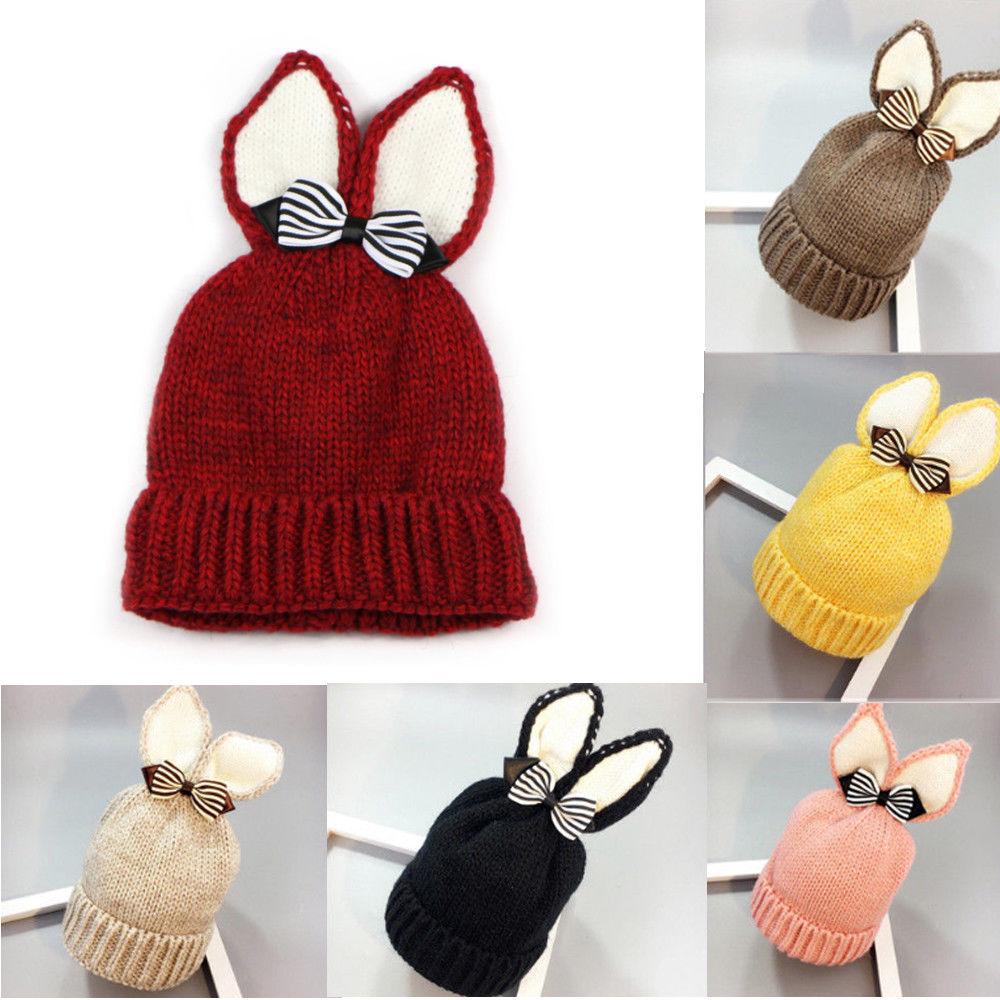 Newborn Baby Girl Boy Fur Pom Bobble Cap Winter Knit Crochet Hairball Beani Hat
