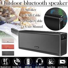 Металлический двойной 20 Вт беспроводной динамик Bluetooth 4,0 HIFI стерео супер Bas перезаряжаемый 4000 мАч Внешний аккумулятор Handfree TF AUX