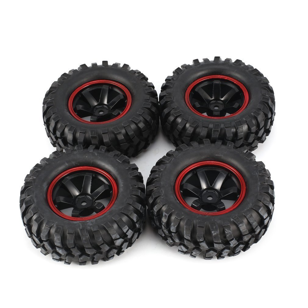 Universal 4pcs 1/10 Scale Off Road Buggy Tires 6 Holes Wheel Rims Set Front and Rear 12mm Hex Hubs with Foam Inserts