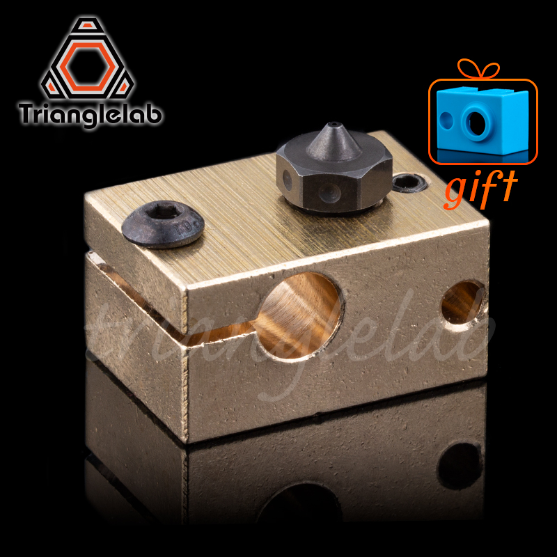 High Temperature A2 Hardened Steel V6 Nozzles + Copper Brass Heater Block For Printing PEI PEEK Or Carbon Fiber For E3D HOTEND