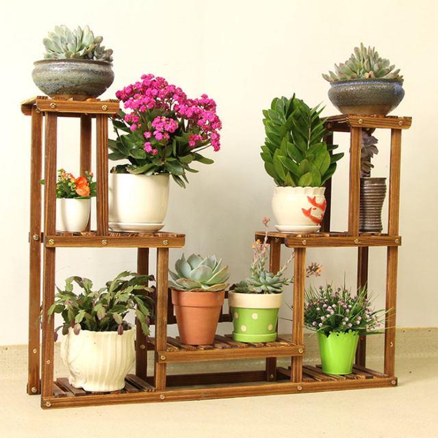 4 Layers Bamboo Plant Flower Pot Stand Garden Planter Nursery Shelf Indoor Outdoor