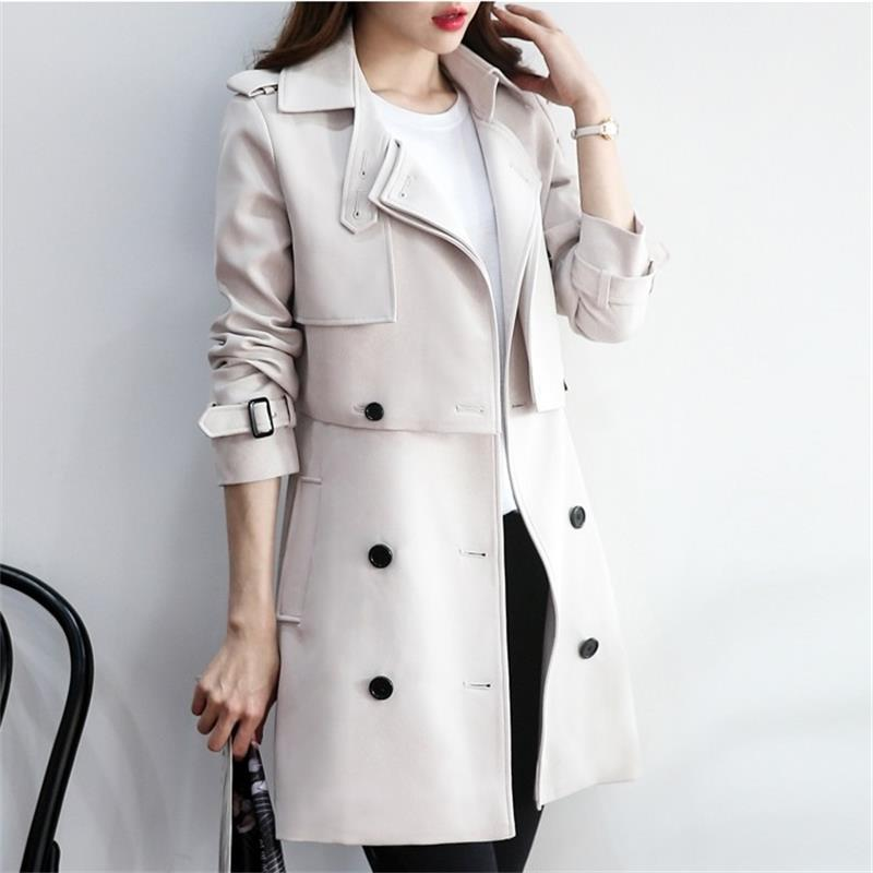 Fashion Classic Double Breasted Trench Coat Women Windbreaker 2-piece Ladies Elegant Slim Long Coat Casual Spring Autumn Outwear