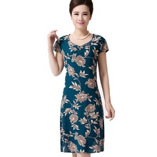 Women 2019 Plus Size Women's Dress Vintage Printed Brand Flower Print Sundress Long Casual Beach Style Dresses Vestidos Mujer