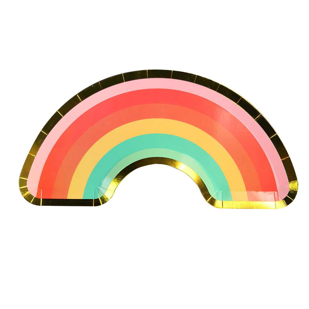 8pcs/Set Disposable Cake Plate Rainbow Shaped Colorful Food Plate Dessert Plates For Birthday Afternoon Tea Party Wedding