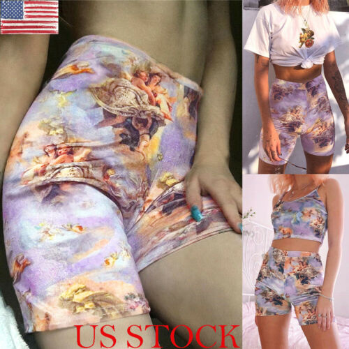 Women Angel Print Shorts High Waist Streetwear Elastic Waist Shorts  Summer Women Fashion Shorts Feminino 2019 New Arrival