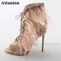 Fashion Bling Bling Colorful Rhinestone With Pink Feather High Heel Sandal Boots Woman Lace Up Open Toe Short Boots