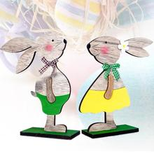 Creative Easter Rabbit Wood Ornaments Easter Eggs Ribbon Stand Decoration Easter Decorations for Home Table Party Supplies 2019