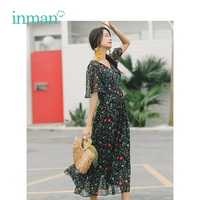 INMAN 2019 Summer New Arrival V neck Flare Sleeve Literary Retro Color Floral A line Women