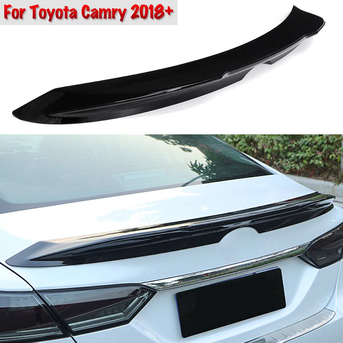For Toyota Camry 2018+ Glossy Black  ABS Duckbill Rear Trunk Lid Spoiler Wing Matte Black Car Styling Auto AccessoriesFor Toyota Camry 2018+ Glossy Black  ABS Duckbill Rear Trunk Lid Spoiler Wing Matte Black Car Styling Auto Accessories