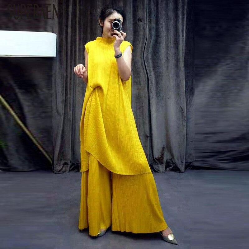 SuperAen Fashion Women Two-piece New 2019 Summer Fashion Casual Sleeveless Tops Pluz Size Europe Long Pants Women's Sets