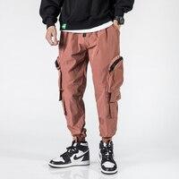 2019 мужские большие карманы декоративные однотонные рабочие лучи ноги повседневные мужские брюки молодежные уличные джоггеры спортивные б