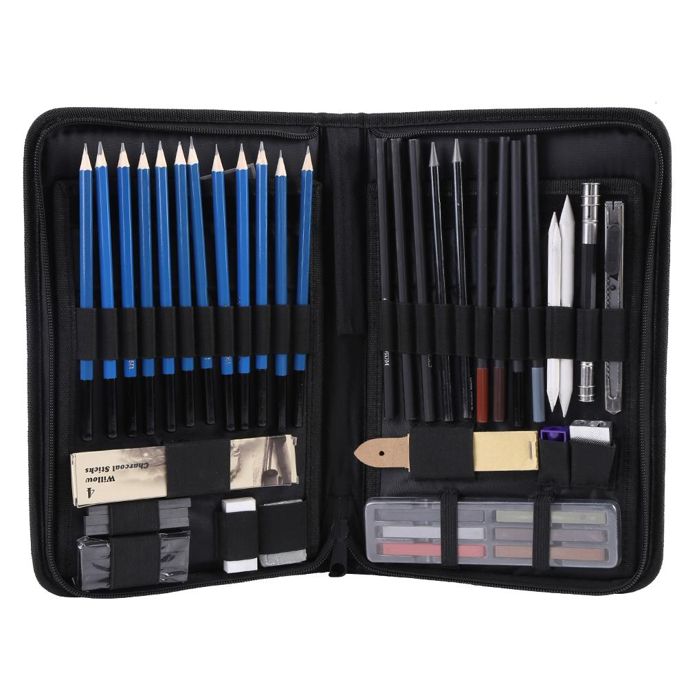 Image 3 - 48PCS Professional Sketching Drawing Pencils Kit Carry Bag Art Painting Tool Set Student Black for Drawing Sketching and Writing-in Standard Pencils from Office & School Supplies