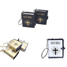 1pc Unisex Religion English Version Small Size Holy Bible Key Chain Bible Book Hang Christian Jesus Key Ring Gift(China)