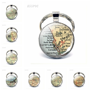 American Cities Map Glass Pendant Keychain Seattle San Diego Miami Oakland Fashion Souvenir Keyring Jewelry Gifts For Traveler image