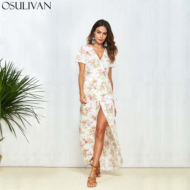 OSULIVAN Summer Dress Plus Size Boho Dress Women Bohemian Robe Femme Strand Jurkjes Vestido Robe Vintage High Street Beach Party