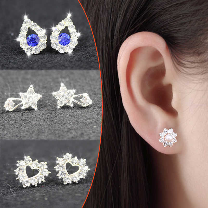 2019 New Hot Sale Buterfly Crown Pearl Crytal Women Earrings Silvery Flower Cute Girls Earrings