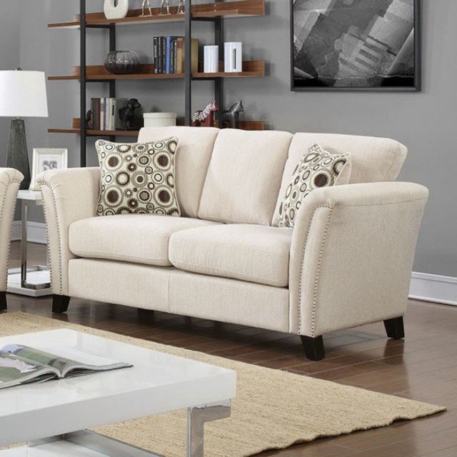 Campbell Contemporary Love Seat, Ivory