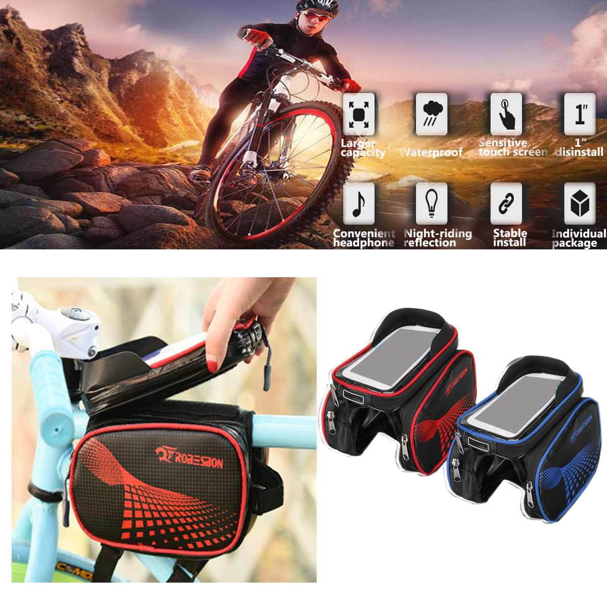 Waterproof Cycling Front Frame Tube Bag Phone Holder Panniers MTB Bike Bicycle Accessories Bag Mountain Bicycle Front Tube Bag