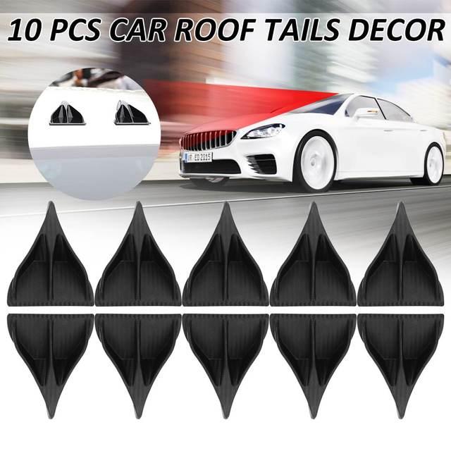 10Pcs Black Carbon Fiber Universal Car Atuo Cars Styling Shark Fin Roof Tails Decor