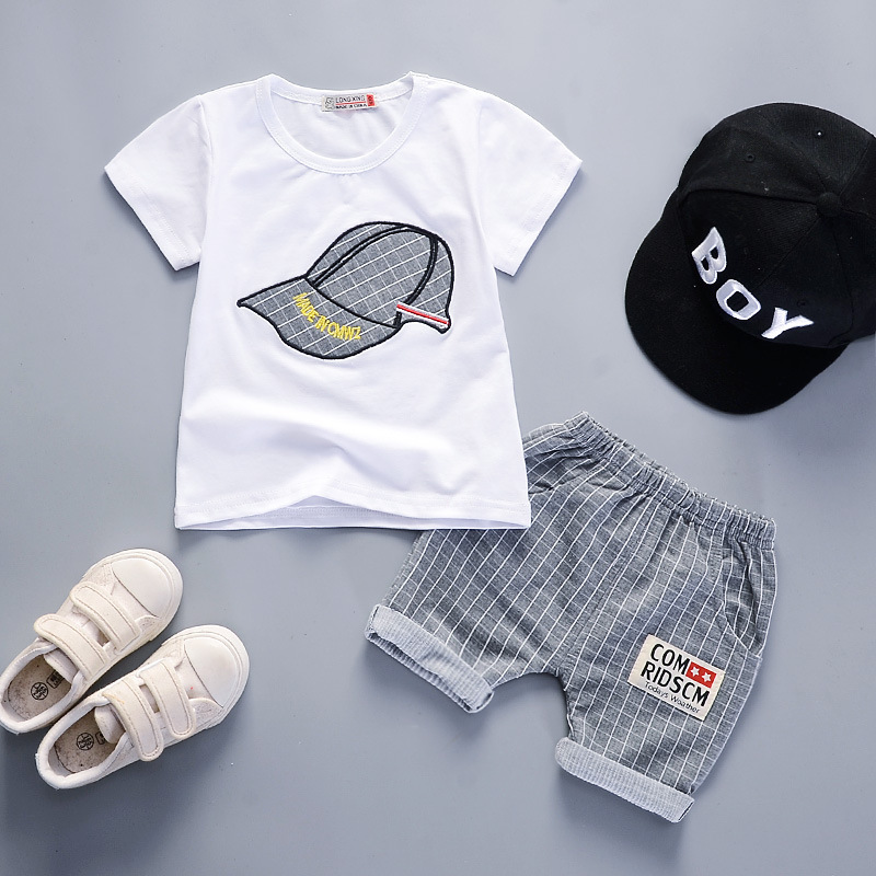 Summer Baby Boys Girls Clothing Sets Infant Toddler Clothes Embroidered Hat T Shirt Shorts 2Pcs Children Kids Cotton Tracksuits