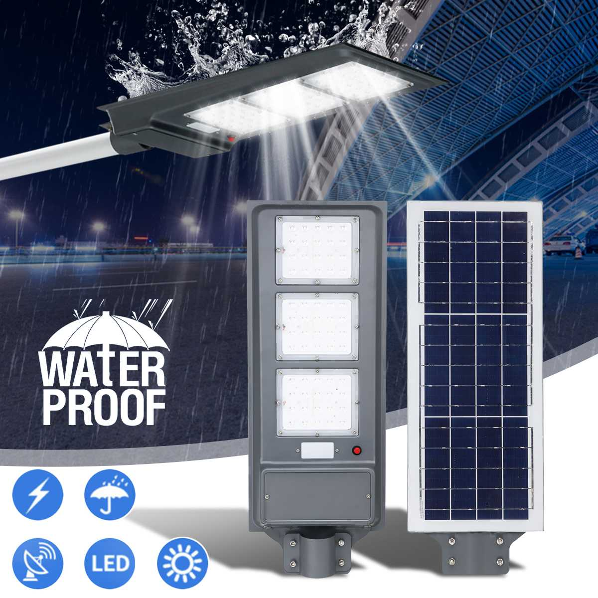 Solar Street LED Light 20/40/60W PIR Motion Sensor Radar Induction Wall Lamp Light Pole Polycrystalline High Efficiency Outdoor