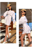 Slash Neck Elegant Shirt Dress Off Shoulder Sexy Femme Summer High Quality Women Bodycon Casual Tunic Evening Party Dress 2019