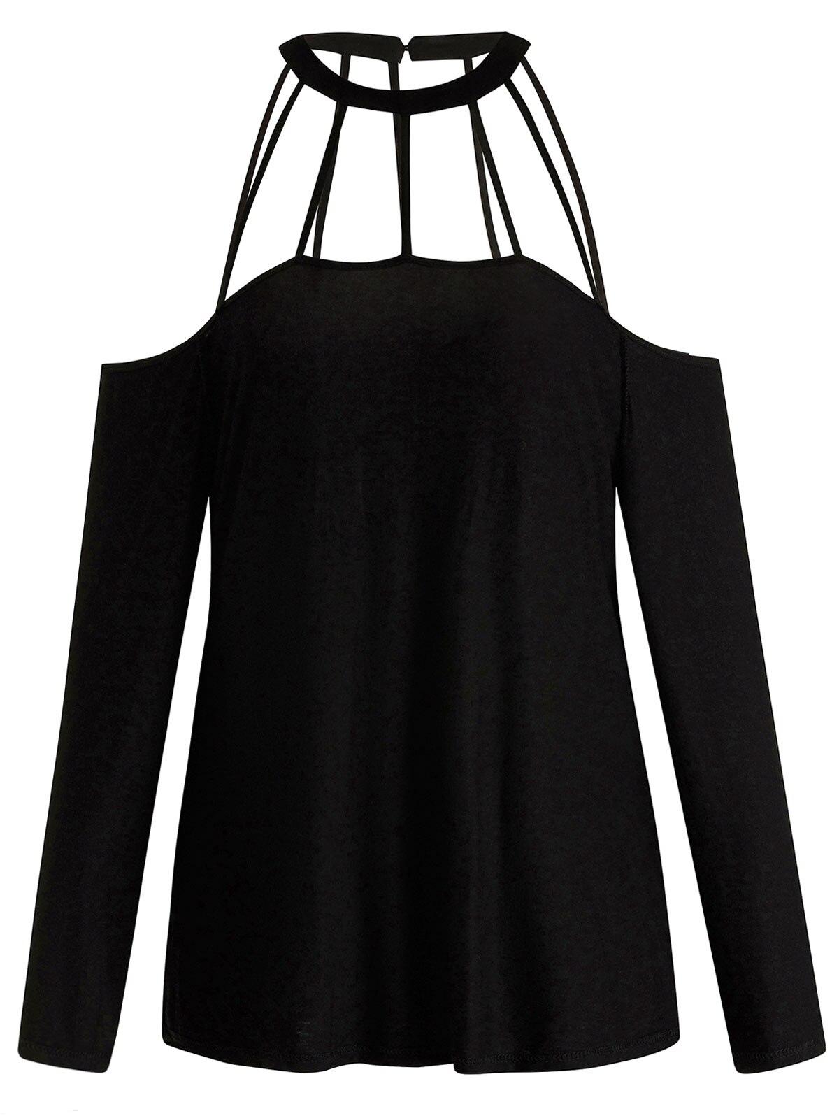 3fc44281bb020f Wipalo kobiety Plus rozmiar 5XL zimno ramię klatkowa Cut Out T-Shirt O Neck  długie