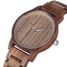 Chic Casual Walnut Wood Watch for Men Luminous Pointer Quart