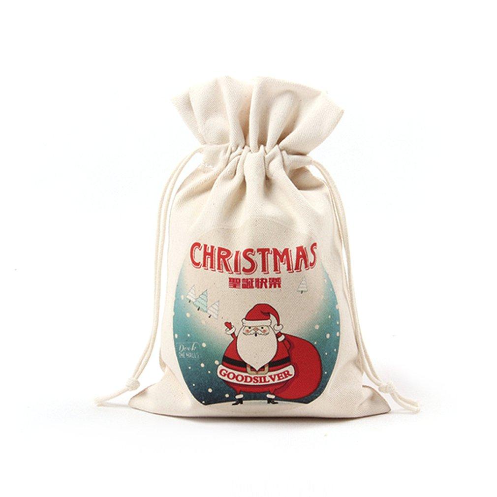 Handmade Drawstring Canvas Storage Bag Candy Bag Christmas Gift Pouch Bag Holiday Supplies Christmas Decoration