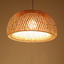 New Chinese Bamboo Hand Knitted Led Pendant Lights Living Room Hotel Restaurant Aisle Bedroom Study Light Fixtures Hanging Lamp