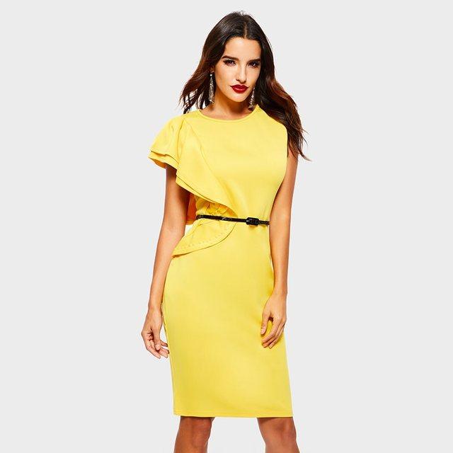 1775733fdeaf1 Sisjuly noche Fiesta Club Sexy mujeres amarillo de un hombro vestidos  camiseros de Falbala