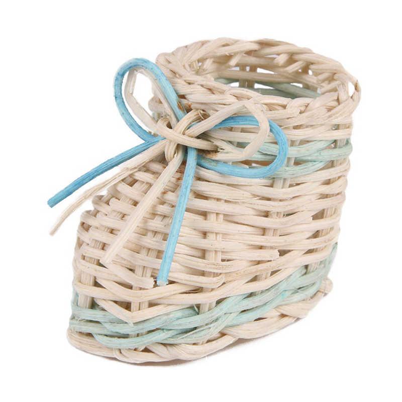 Azul bonito Sapato Palha Cesta de Flores Secas Vaso de Mesa Com Função De Armazenamento