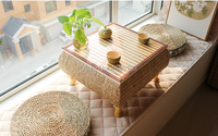 Thai Style bamboo rattan low table Tray Table with 2pcs Cushion straw knitted platform table, tea ceremony and tea table