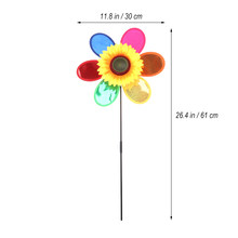Colorful Sunflower Plastic Windmill Pinwheel Sequins Wind Spinner Kids Toy Garden Lawn Party Decor(China)