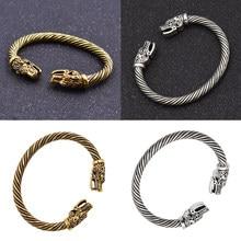 Pulseira viking de dragon head, pulseira masculina indiana, acessórios para mulheres, pulseira vintage, retrô, clássica