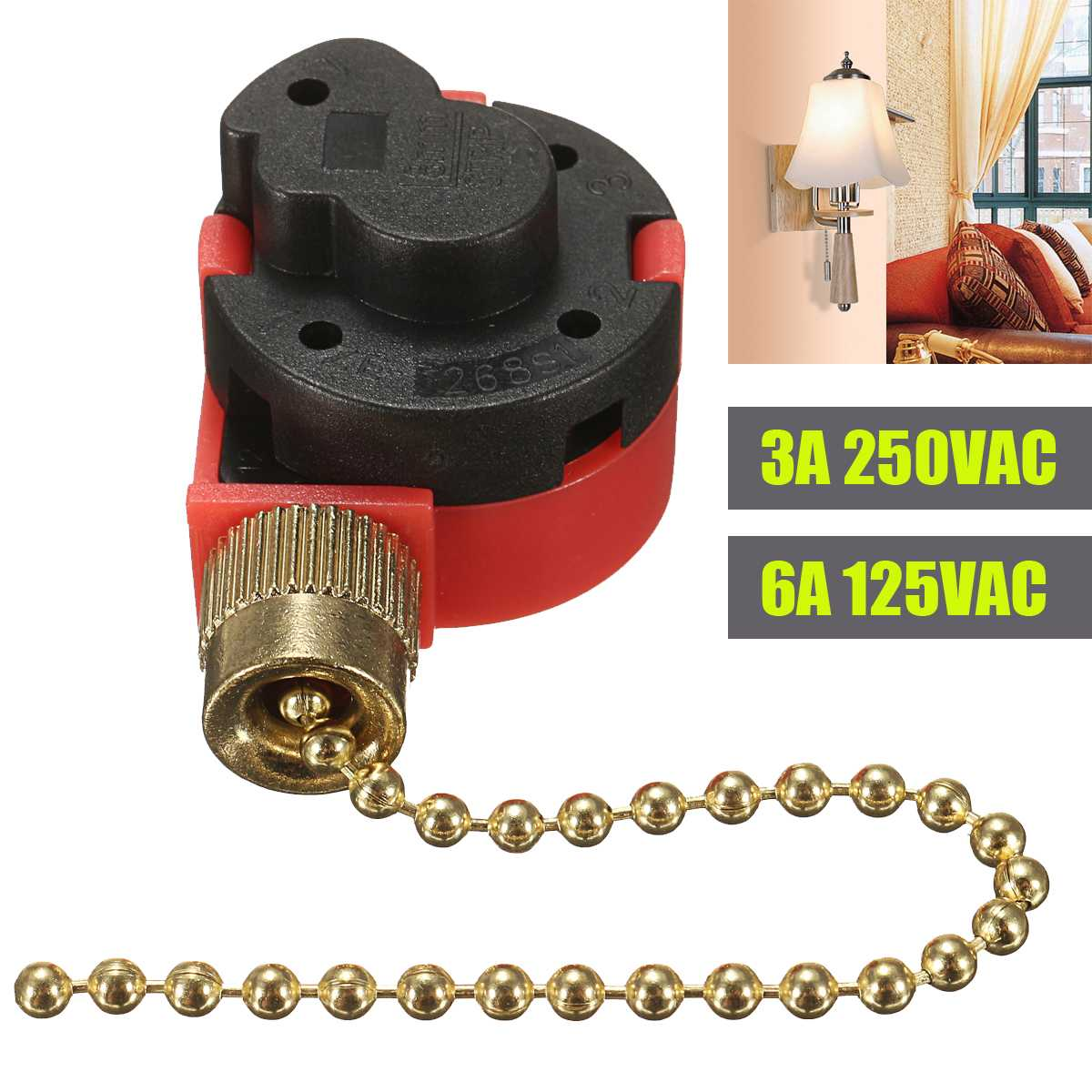 10cm Red Zipper Switch 3 Speed Pull Chain Control Nickel Fan Switch With Antique Brass Chain