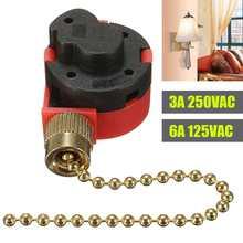 10 см красный переключатель молнии 3 скорости Тяговая цепь управления никелевый переключатель вентилятора с антикварной латунной цепью