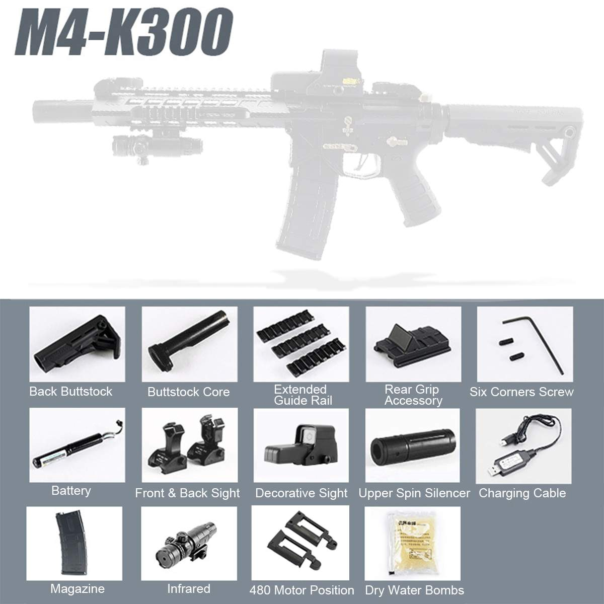 Bricolage M4 Électrique balle en eau Gel Balle Blastering Fusils Jouets Pour L'extérieur Pour CS