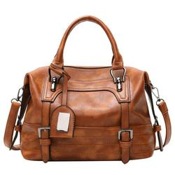 2018 Winter New Pu Leather Handbag Hign Capacity Vintage Tassel Shoulder Bags For Women Belt Buckles Shopping Tote