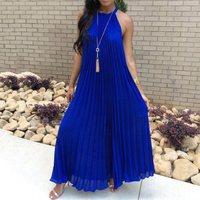 Плиссированное синее Макси-платье, лето 2019, женское пляжное платье без рукавов с лямкой на шее, белое длинное Повседневное платье большого р...