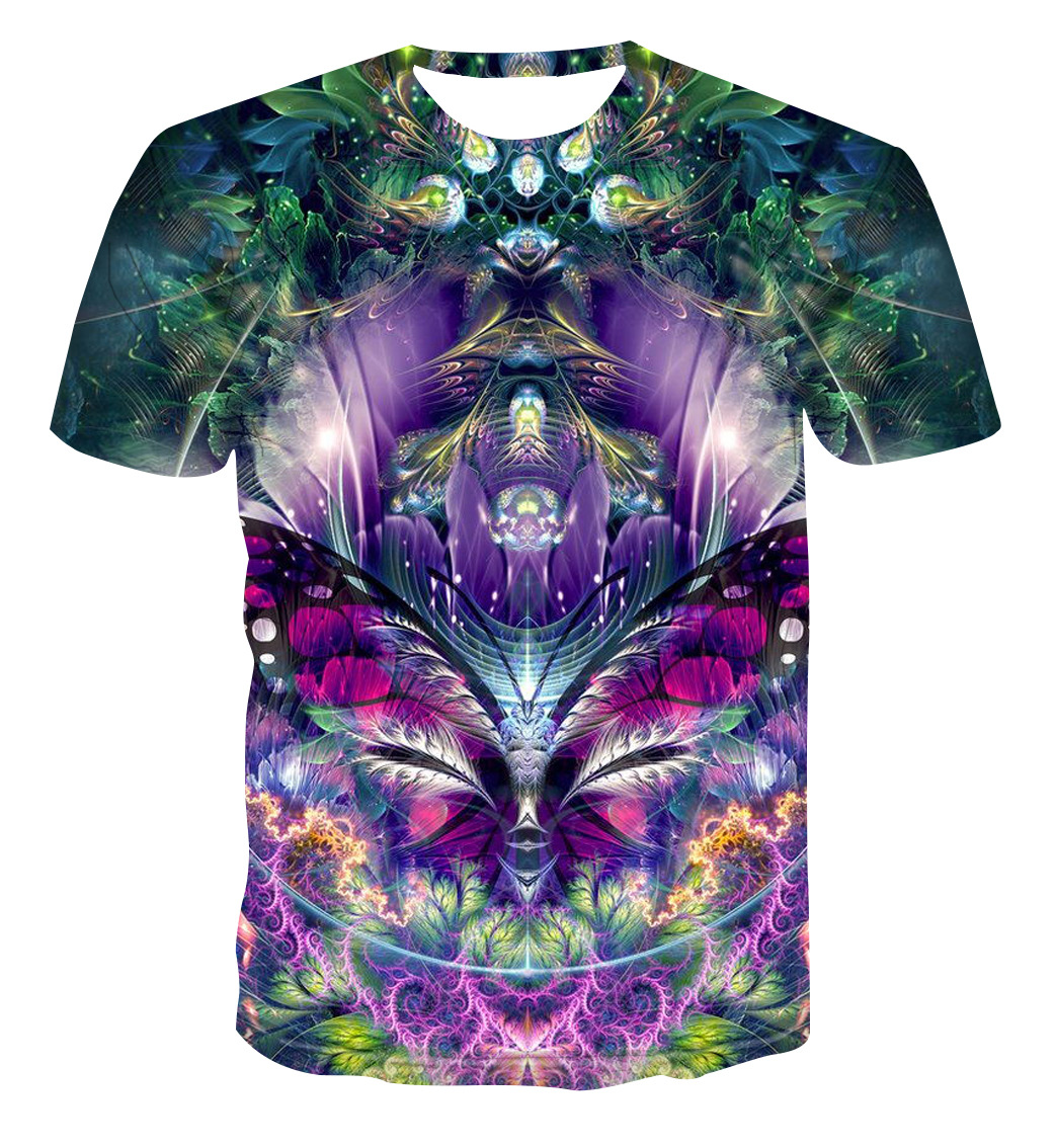 Men's   T     shirt   Forest   T  -  shirt   Wonderland Tees 3D pattern   T     shirt   Short Sleeve Tshirt Asian size