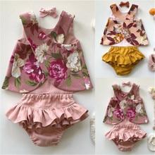 Жилет без рукавов с цветочным рисунком для новорожденных и маленьких девочек топы с оборками на спине и шорты детские шаровары, повязка на голову, комплект одежды из 3 предметов