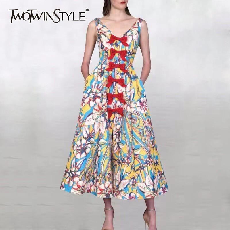 TWOTWINSTYLE Spring Print Sleeveless Women Dress Off Shoulder High Waist Bowknot Midi Dresses Female Fashion 2019