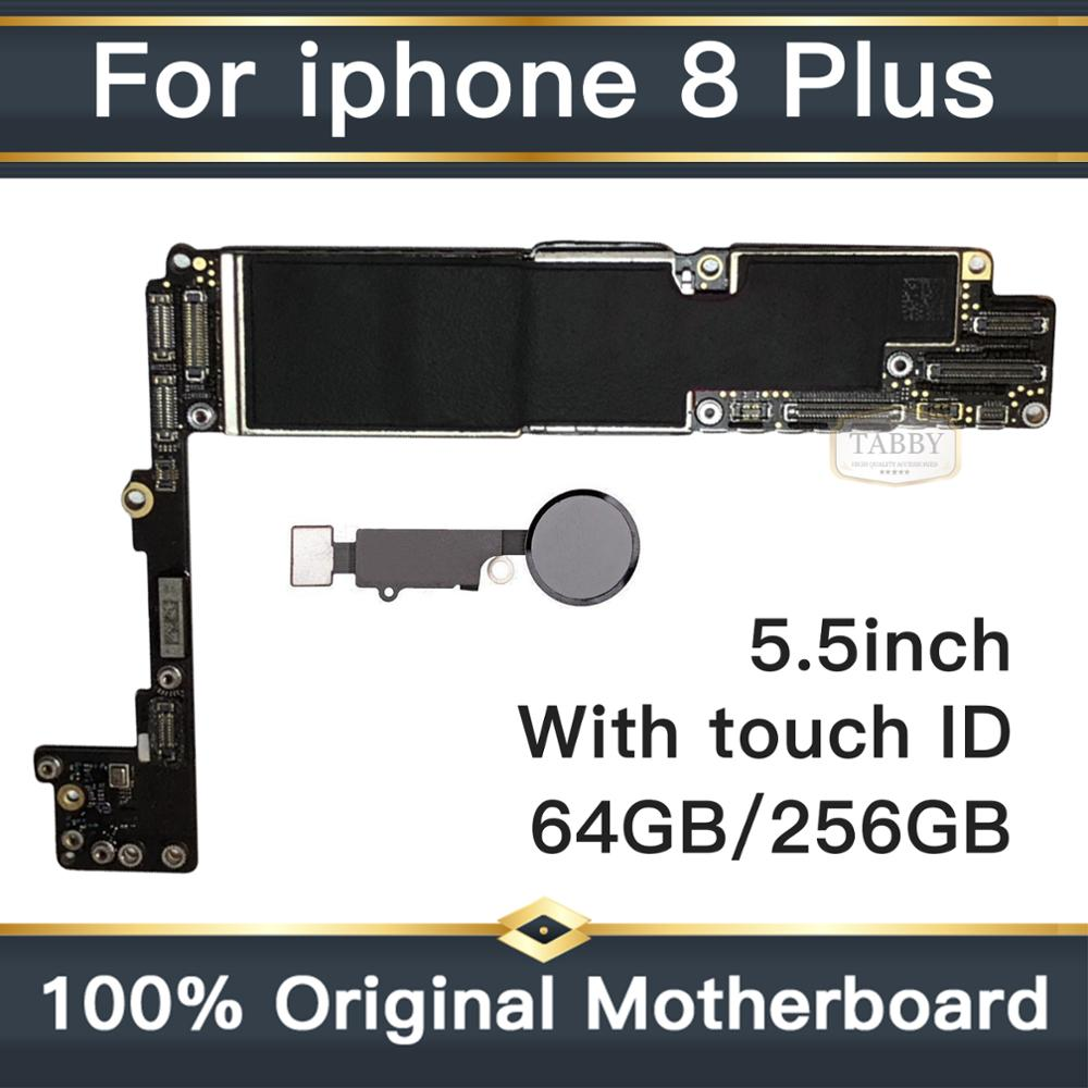 Iphone 8 Plus Unlocked | For Iphone 8Plus 8P Original IOS System Logic Board+Fingerprint 64GB 256GB Full Unlocked Mainboard For Iphone 8 Plus Motherboard