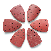 Hot 72 Pcs Sandpaper Triangle 11 Hole Reddish Brown 40/60/80/120/180/240 Grits Alumina 150 * 105mm