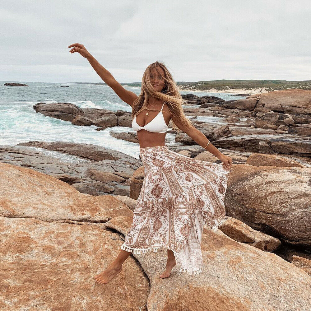 New Women Summer Boho Floral Print Maxi Skirt Summer Holiday Long Skirt Beach Skirt Arrival Long Retro Skirt Sundress Hot