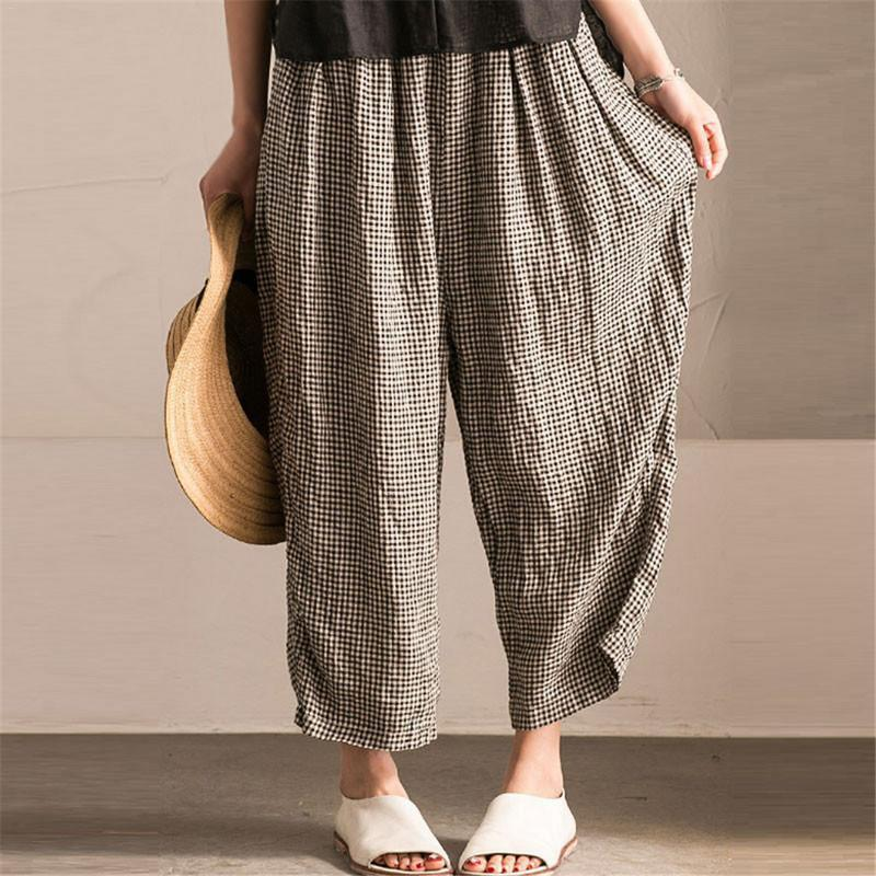 Women   Wide     Leg     Pants   Summer Big Size Plaid Black Elastic Waist Oversized Casual Loose Long   Pants   Female Large Trousers