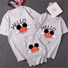Футболка с коротким рукавом «Mommy and Me», хлопковая Футболка с Микки-Маусом для мам и дочек, пап и сыновей Топы Minnie для одинаковая семейная одежда наряды